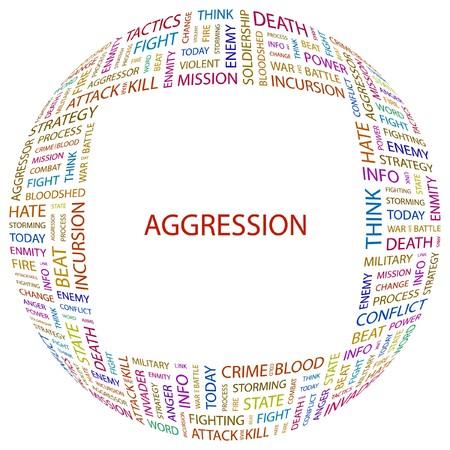 bloodshed: AGRESI�N. Collage de Word en ilustraci�n de fondo blanco.