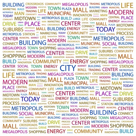 CITY. Word collage on white background illustration.    Vector
