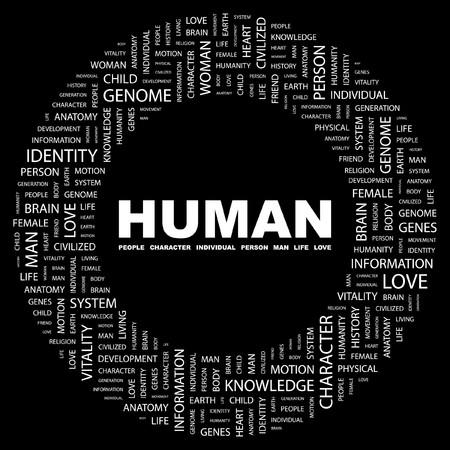 HUMAN. Word collage on black background.  illustration.