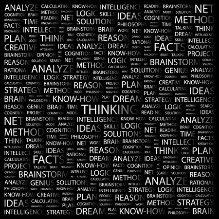 THINKING. Word collage on black background illustration.    Stock Vector - 7341341