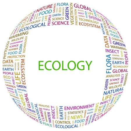 ECOLOGY. Word collage on white background. illustration.    Vector
