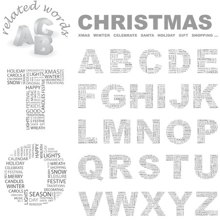 CHRISTMAS.  letter collection. Word cloud illustration.   Vector