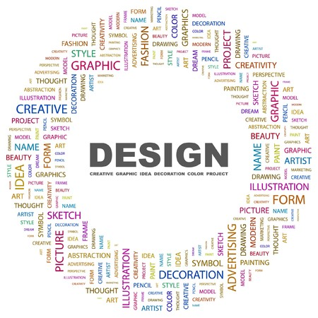 graphic artist: DESIGN. Word collage on white background.  illustration.   Illustration