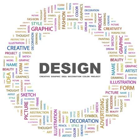 デザイン。白い背景の上の単語のコラージュ。イラスト。