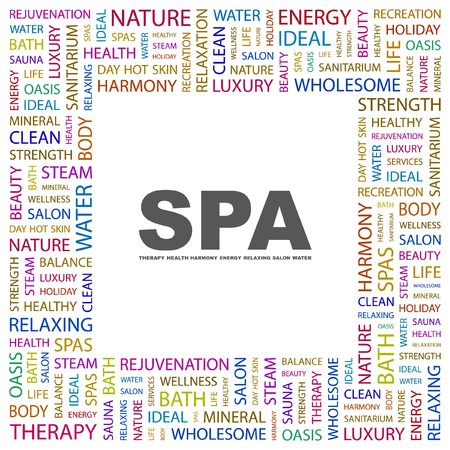 spa collage: SPA. Word collage on white background.  illustration.    Illustration