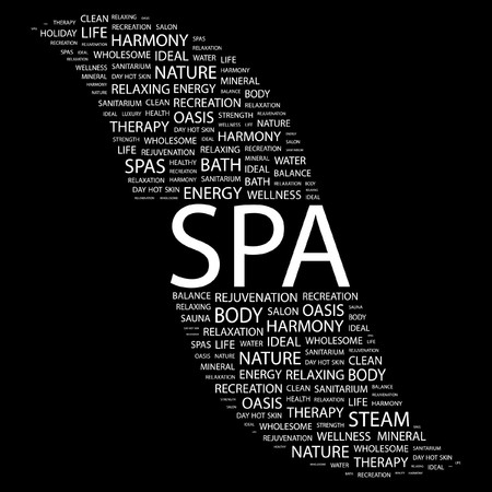 good service: SPA. Word collage on black background.  illustration.    Illustration