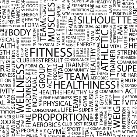 FITNESS. Seamless background. Word cloud illustration.   Vector
