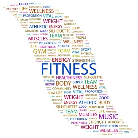 FITNESS. Word collage on white background.  illustration.    Stock Vector - 7337973