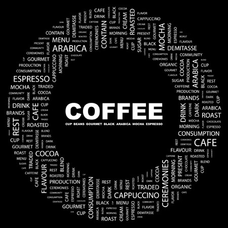 arabica: COFFEE. Word collage on black background. illustration.