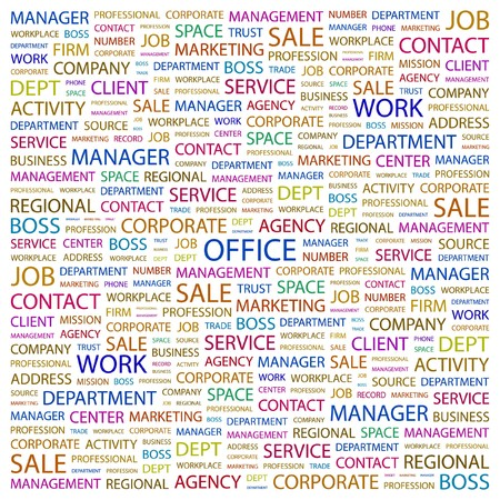 OFFICE. Word collage on white background.  illustration.    Vector