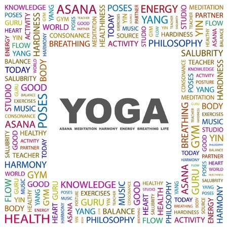 YOGA. Word collage on white background.  illustration.    Vector