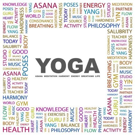 hardiness: YOGA. Word collage on white background.  illustration.