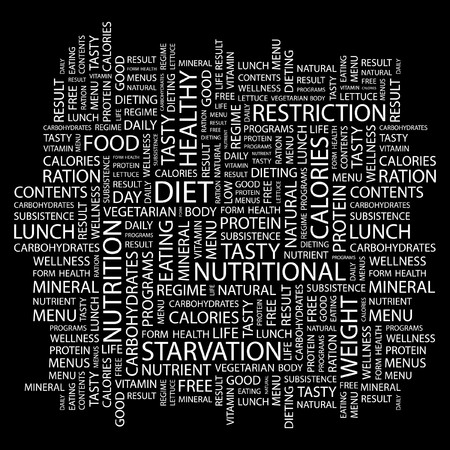 subsistence: DIET. Word collage on black background.  illustration.