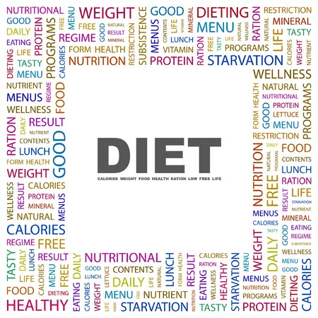 DIET. Word collage on white background.  illustration.    Vector