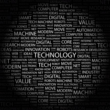 TECHNOLOGY. Word collage on black background.  illustration.    Vector