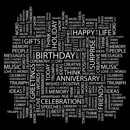 BIRTHDAY. Word collage on black background.  illustration.