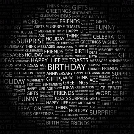 wingding: BIRTHDAY. Word collage on black background.  illustration.