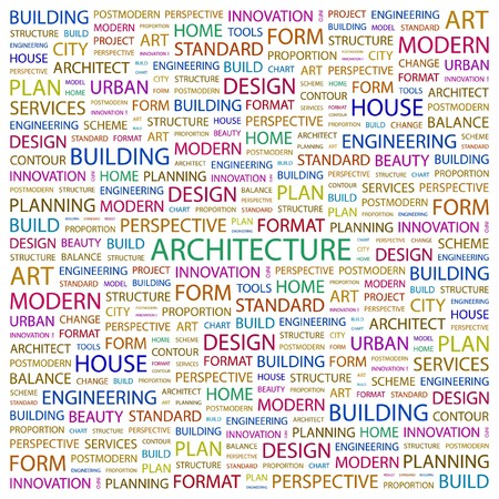 postmodern: ARCHITECTURE. Word collage on white background.  illustration.