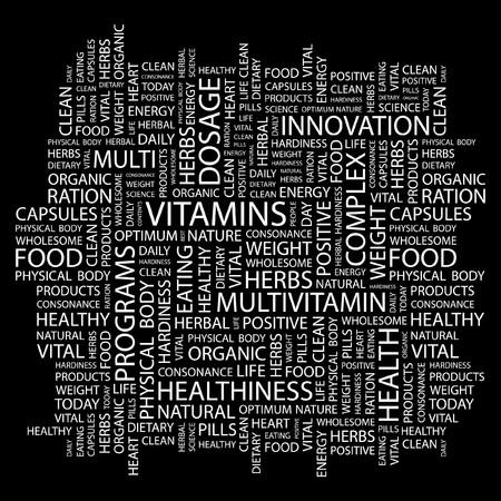 VITAMINS. Word collage on black background.  illustration. Stock Vector - 7339743