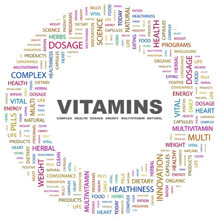 VITAMINS. Word collage on white background.  illustration.    Stock Vector - 7339789