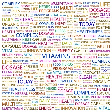 deficiency: VITAMINS. Word collage on white background illustration.