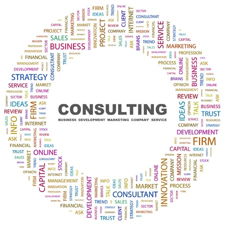 CONSULTING. Word collage on white background illustration.