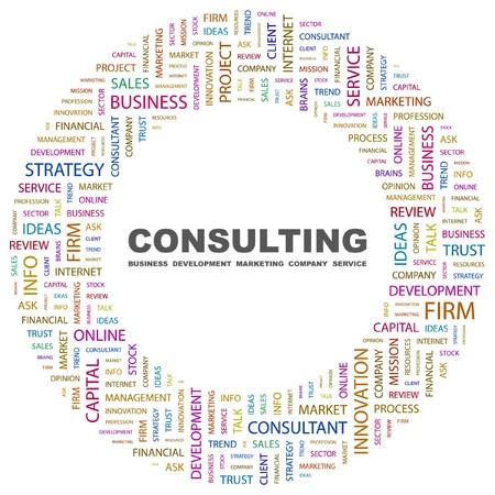 recursos financieros: CONSULTOR�A. Collage de Word en ilustraci�n de fondo blanco.  Vectores