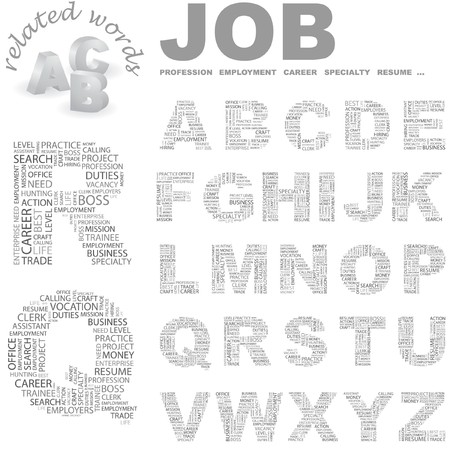 intern: JOB.   letter collection. Word cloud illustration.