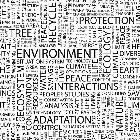 ENVIRONMENT. Seamless  background. Word cloud illustration.     Vector