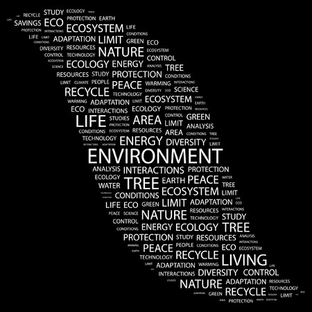 ENVIRONMENT. Word collage on black background.  illustration. Stock Vector - 7338004