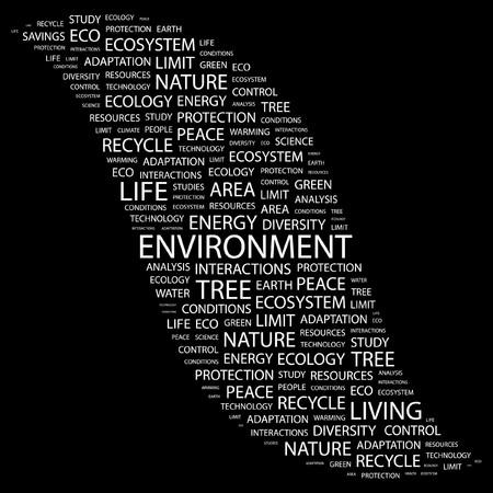 macrocosm: ENVIRONMENT. Word collage on black background.  illustration.    Illustration