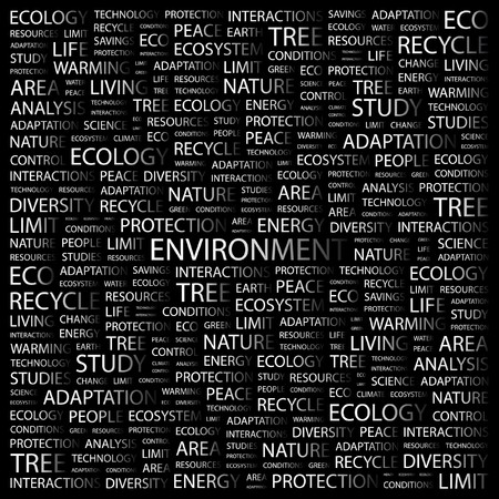 ENVIRONMENT. Word collage on black background. illustration. Stock Vector - 7341322