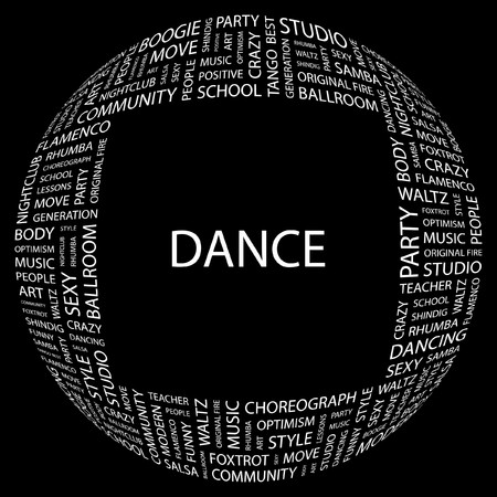 DANCE. Word collage on black background.  illustration.    Vector