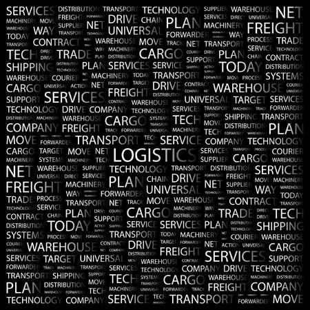 air freight: LOGISTICA. Parola di collage su sfondo nero. illustrazione.