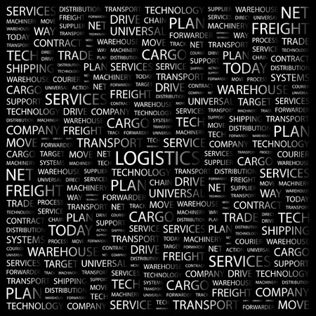 warehousing: LOGISTICS. Word collage on black background.  illustration.