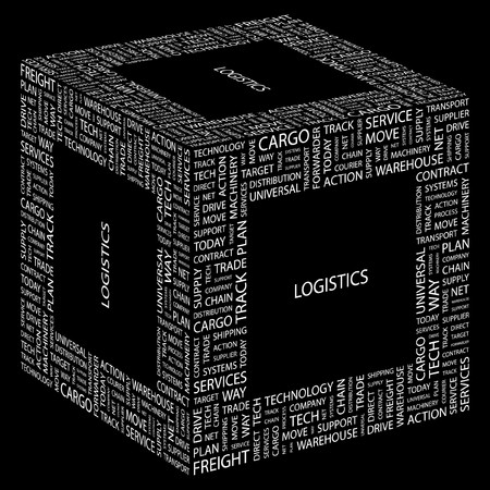 more information: LOGISTICS. Word collage on black background.  illustration.