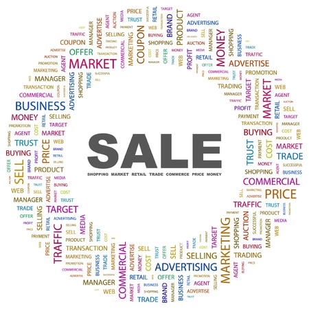 purchasing manager: SALE. Word collage on white background.  illustration.