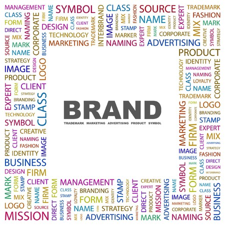 BRAND. Word collage on white background. illustration. Stock Vector - 7338293