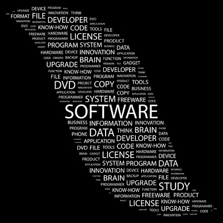 productivity system: SOFTWARE. Word collage on black background. illustration.