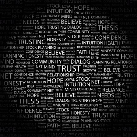 axiom: TRUST. Word collage on black background.  illustration.