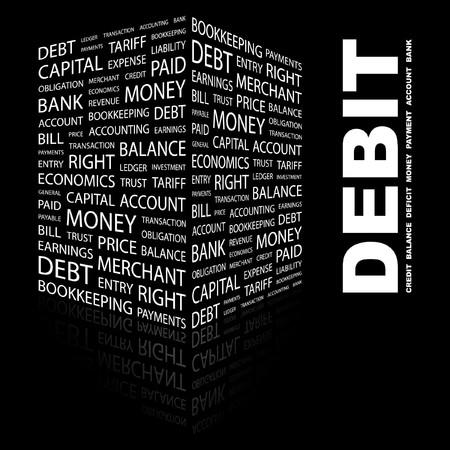 DEBIT. Word collage on black background.  illustration.    Vector