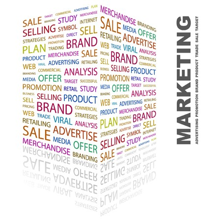 marketing mix: MARKETING. Word collage on white background. illustration.    Illustration
