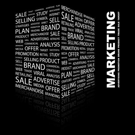 purchasing manager: MARKETING. Word collage on black background. illustration.    Illustration