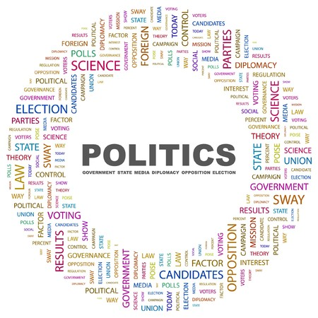 POLITICS. Word collage on white background illustration.    Stock Vector - 7339887