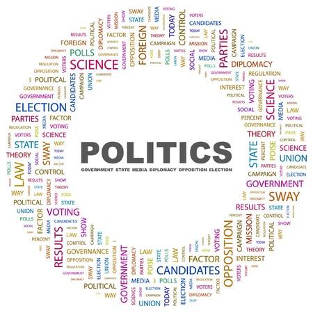 predominance: POLITICS. Word collage on white background illustration.