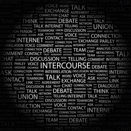 INTERCOURSE. Word collage on black background.  illustration. Stock Vector - 7338646
