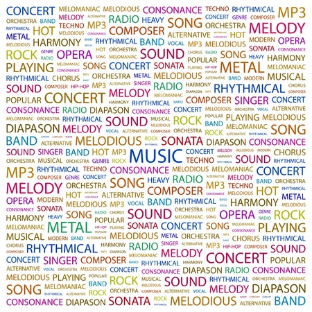 MUSIC. Word collage on white background. illustration.    Vector