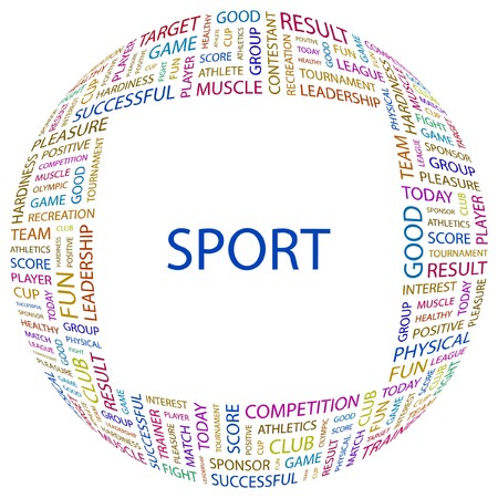 contestant: SPORT. Word collage on white background illustration.