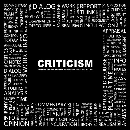 CRITICISM. Word collage on black background. illustration. Stock Vector - 7338083