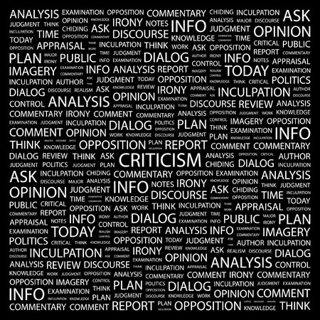 CRITICISM. Word collage on black background.  illustration. Stock Vector - 7340894